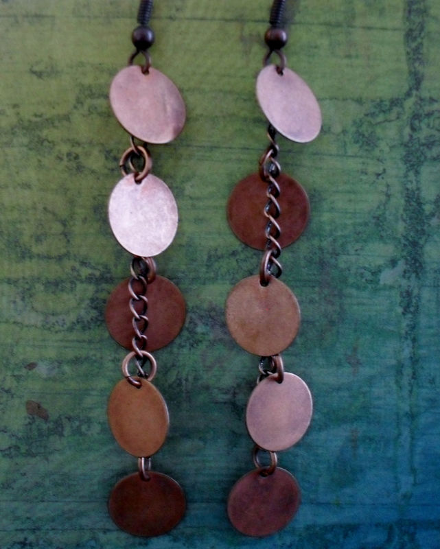 Long Cascading Antiqued COPPER DROP EARRINGS // Unique // Gift for Her // Gift Boxed - product image