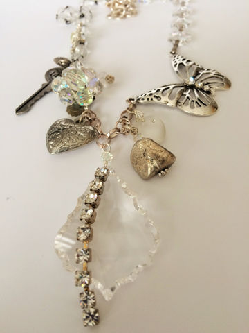 BUTTERFLY,Amongst,Crystal,Chunky,Charm,Necklace,/,STATEMENT,NECKLACE,Reworked,Vintage,Upcycled,Jewellery,Unique,Gift,for,Her,Jewelry,Reworked_Vintage,Butterfly,Heart,Rhinestone,One_Of_A_Kind,silver_charms,chandelier_crystals,upcycled_jewelry,unique_gift_for_her,bjeweled_vintage,Canadian_designer,stunning_necklace,statement_necklace