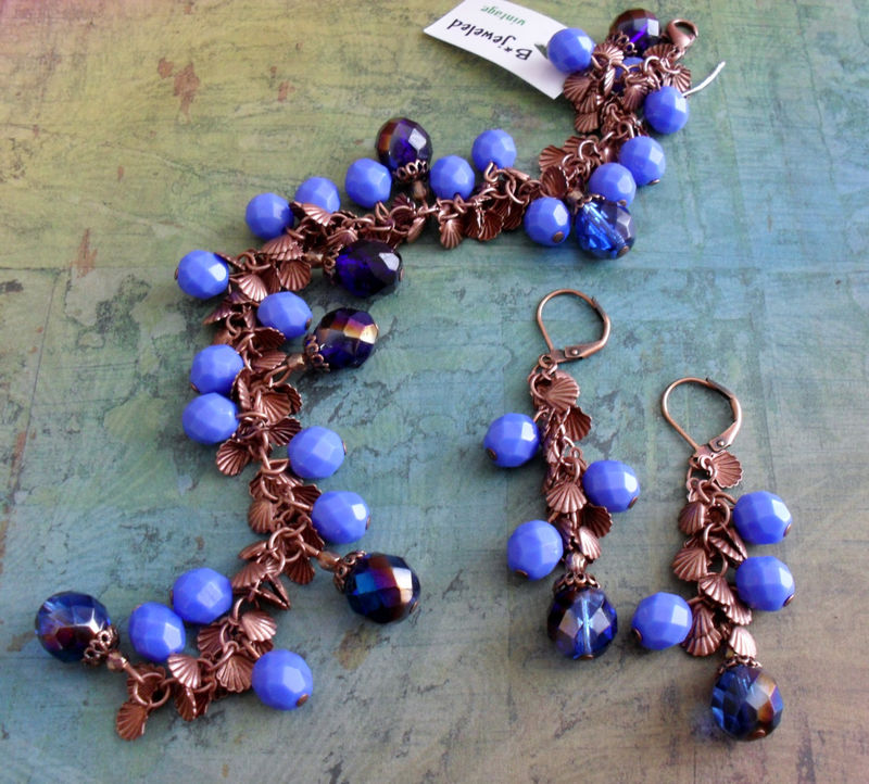 Beautiful BLUES Beaded BRACELET & EARRINGS Set // Periwinkle Blue // Copper // Shell Charms // Gift for Her // Gift Boxed - product image
