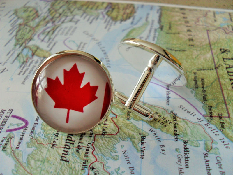 CANADIAN FLAG Cuff Links // Canada Day // Groomsman gift // Father's Day Gift // Canada // Maple Leaf - product image