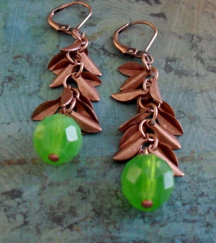 Apple Green Opaline Glass & Copper Leaf Charms Beaded Drop Earrings / Lime Green Earrings  /Copper Leaves / Fall jewelry / Autumn Earrings - product image