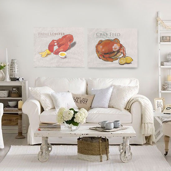 crab, lobster,crab art, lobster art,shabbychic,beach cottage, beach cottage art, brad burns