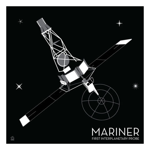 Mariner,Interplanetary,Probe,-,10x10,Giclee,Print,space,science,nasa,vector,print,jpl,mariner,venus