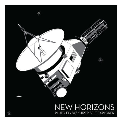 New,Horizons,Deep,Space,Probe,-,10x10,Giclee,Print,space,science,nasa,vector,print,jpl,New Horizons,pluto