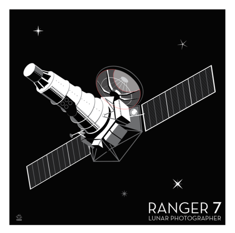 Ranger,7,Lunar,Photographer,-,10x10,Giclee,Print,space,science,nasa,vector,print,jpl,probe,ranger,Moon