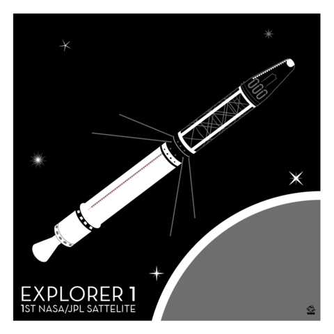 Explorer,1,Satellite,-,10x10,Giclee,Print,space,science,nasa,vector,print,explorer,jpl,probe