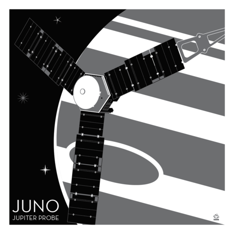 Juno,Jupiter,Probe,-,10x10,Giclee,Print,space,science,nasa,vector,print,probe