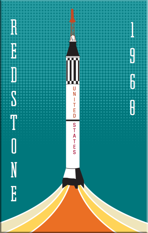 Redstone NASA Rocket 2x3 Magnet - product images