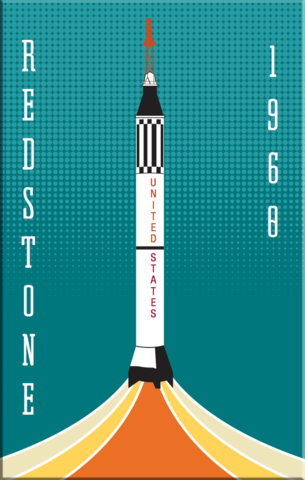 Redstone,NASA,Rocket,2x3,Magnet,nasa,rocket,space,retro,Mercury