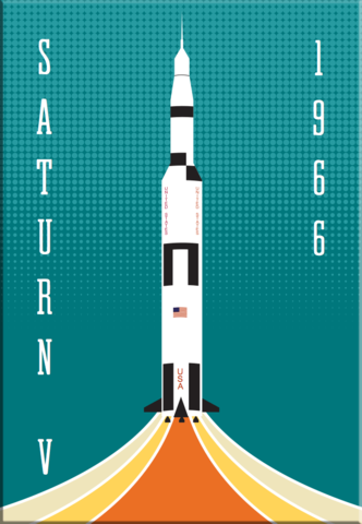 Saturn,V,NASA,Rocket,2x3,Magnet,saturnV,nasa,rocket,apollo,space,retro