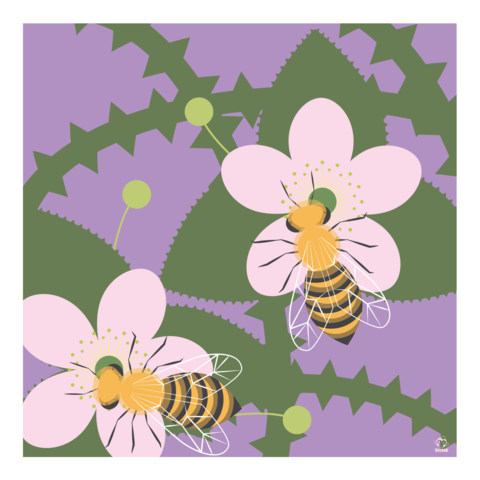 Buzz,Bees,and,Blackberries,10x10,Giclee,Print,nature,Design,spring,science,dragonflies,swamp,reeds