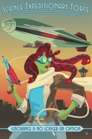 Science,Expeditionary,Force,Monsters,and,Dames,12x18,Ltd,Ed,Giclee,print,giclee,monsters,dames,emerald city,comicon,eccc