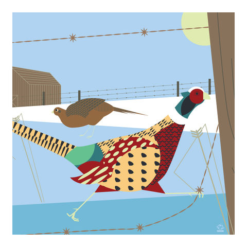 Midwest,Morning,Pheasants,10x10,Giclee,Print,nature,Design,Birds,Farm,MIDWEST,memories