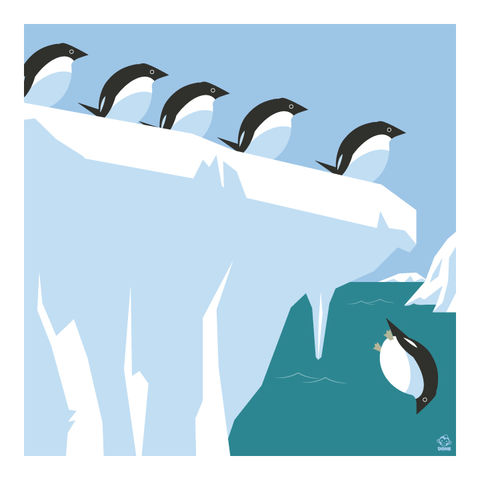 Polar,Bear,Club,Adelie,Penguins,10x10,Giclee,Print,nature,Design,Birds,penguins,Antarctica,iceberg
