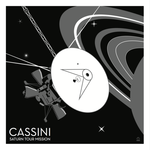 Cassini,Saturn,Probe,10x10,Giclee,Print,space,science,nasa,probe,vector,print,saturn