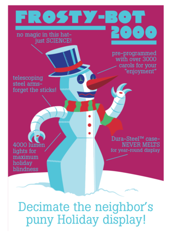 FrostyBot,2000,Holiday,Geeky,Greeting,Card,card,geek,Nerd,geeky greeting,xmas,Robot,frosty,snowman