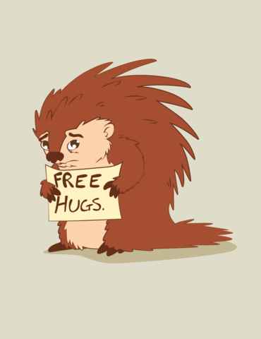 Free,Hugs,2x3,Porcupine,Magnet,wisdom,advice,geek,encouragement,porcupine,free hugs