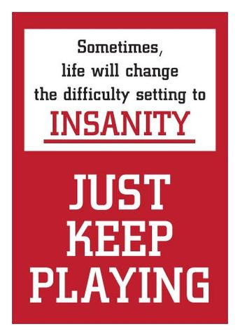 Life,Insanity,-,Encouragement,Geeky,Greeting,Card,geek,Nerd,greeting card,encouragement,gamer,insanity
