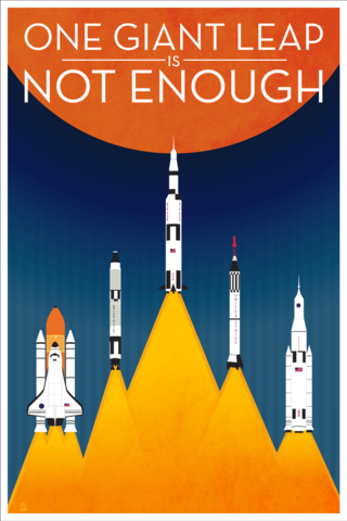 One,Giant,Leap,NASA-Inspired,-,12x18,POPaganada,Print,geek,Nerd,POPaganda,nasa,space,Shuttle,rocket,minimalis
