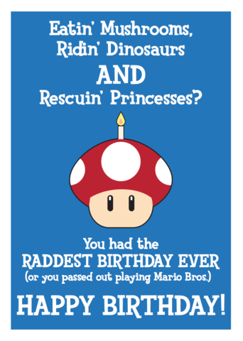 Mario,Mushroom,Birthday,Geeky,Greeting,Card,geek,Nerd,greeting card,cake,birthday,card,retro