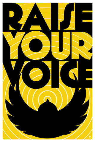 RAISE,YOUR,VOICE,Black,Canary,Inspired,-,12x18,POPaganada,Print,geek,Nerd,POPaganda,propaganda,protest,Black Canary,voi