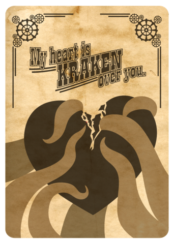 Steampunk,Kraken,Heart,Geeky,Greeting,Card,card,geek,geeky greeting,Nerd,steampunk