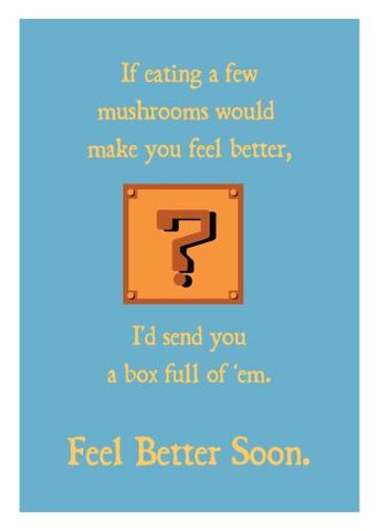 Mushroom,Get,Well,Geeky,Greeting,geek,Nerd,get well,Mario,nintendo,geeky greeting
