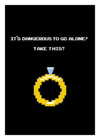 Dangerous,to,go,alone,Wedding,Geeky,Greeting,zelda,Nerd,card,Link,nintendo,wed,gamer,geeky greeting