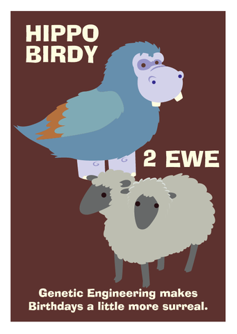 Hippo,Birdy,2,Ewe,Birthday,Geeky,Greeting,Card,geek,birthday,Nerd,card,hippo,sheep,genetic,birdy