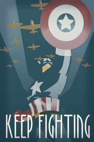 Keep,Fighting,12x18,Propaganda,Print,war,art,propaganda,CAPTAIN,America,Shield,planes,Stand,fight,World,ww2