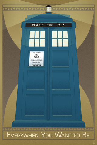Everywhen,You,Want,to,Be,-,Tardis,12x18,Print,dr,who,tardis,art,Deco,print,BBC,tv,scifi