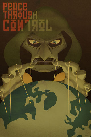 Peace,Through,Control,-,Doom,12x18,Print,doom,Marvel,comics,propaganda,Poster,rusian,soviet