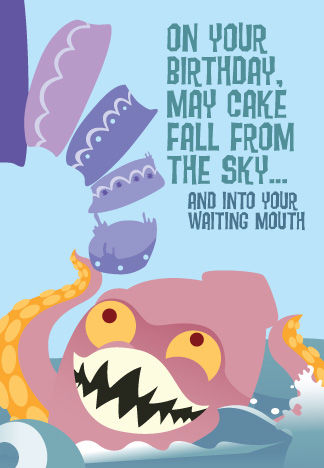Kraken,Cake,B-Day,Card,art,cake,birthday,card,pirate,sky