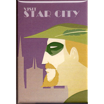 Visit,Star,City,2x3,Magnet,retro,art,geek,visit,Green Arrow,dccomics,star city,ner