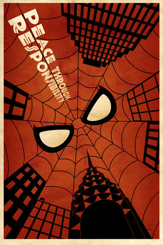 Peace,Through,Responsibility,12x18,geek,peace,Nerd,spider-man,Deco,Responsible,saul bass
