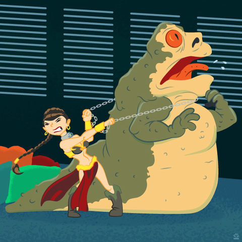 Leia,Vs.,Jabba,8X8,Art,Print,poster,digital print,leia,star wars,general organa, carrie fisher,starwars