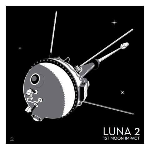 Luna,2,Russian,Lunar,Probe,-,10x10,Giclee,Print,space,science,nasa,vector,print,russia,ussr,probe,luna,Moon