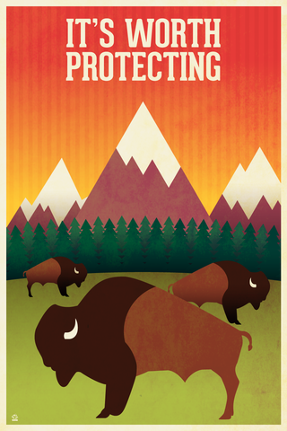 It's,Worth,Protecting,EPA/NPS,-,12x18,POPaganada,Print,geek,Nerd,POPaganda,bison,usda,epa,nps,national parks, environment, save the environment