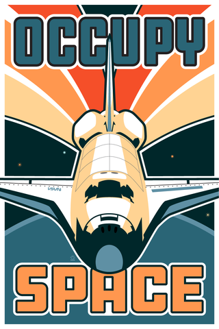 Occupy,Space,-,12x18,POPaganada,Print,geek,Nerd,POPaganda,space, space art, space shuttle, shuttle, STS, columbia, enterprise, endeavor, discovery, challenger, atlantis, chris hadfield, peggy whitson, mae jemison