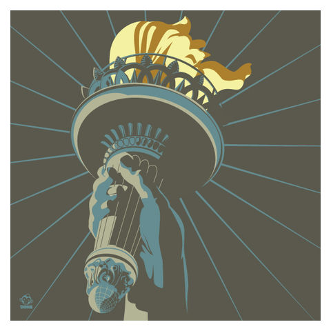 Golden,Lamp,10x10,Giclee,Print,statue of liberty, usa, golden lamp, torch, print, new colossus, liberty