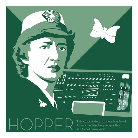 Grace,Hopper,-,Eureka,Giclee,print,giclee, print, science, einstein, albert einstein, relativity, e=mc2, vector art