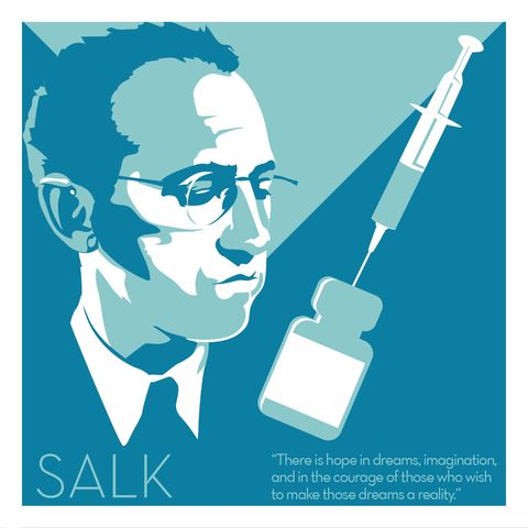 Jonas,Salk,-,Eureka,Giclee,print,giclee, print, salk, science, polio, vaccine, march of dimes, fdr