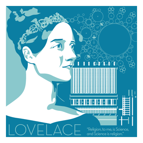 Ada,Lovelace,-,Eureka,Giclee,print,giclee, print, science, ada lovelace, computer, babbage, lovelace, ada, eureka, design, vector art