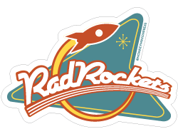 Rad,Rockets,Retro,Sign,-,Vinyl,Sticker,retro,Design,space age,space race,neon,retrofuturism,rad,rockets,googie