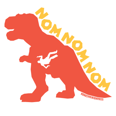 NOMNOMNOM,Dinosaur,-,Vinyl,Sticker,monkey minion press,mmp, dinosaurs, nom, eating, tyrannosaurus rex, trex, sticker