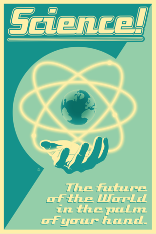 Science!,-,12x18,POPaganada,Print,geek, Nerd, POPaganda, science, propaganda, future, atomic, nuclear