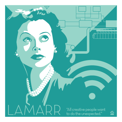 Hedy,Lamarr,-,Eureka,Giclee,print,giclee, print, science, hedy lamarr, bombshell, starlet, wifi, internet, wireless communication, eureka
