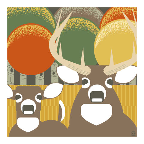 Whitetail,Deer,10x10,Giclee,Print,nature,Design,spring,science,whitetail deer, deer, deer season, hunting, bucks, does, fall, autumn