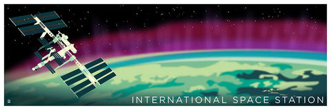 International,Space,Station,Travel,12x36,POPaganda,print,limited,geek,Nerd,gicleé,space,nasa,earth, ESA,ISS,Aurora,International space station