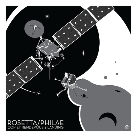 Rosetta/Philae,Comet,Lander,-,10x10,Giclee,Print,space,science,nasa,vector,print,ESA,Rosetta,Philae,Lnader,comet,european space agency